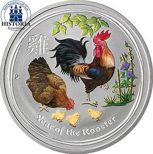 Australien 1 Dollar 2017 Silber Lunar II: Silbermünze Jahr des Hahn in Farbe