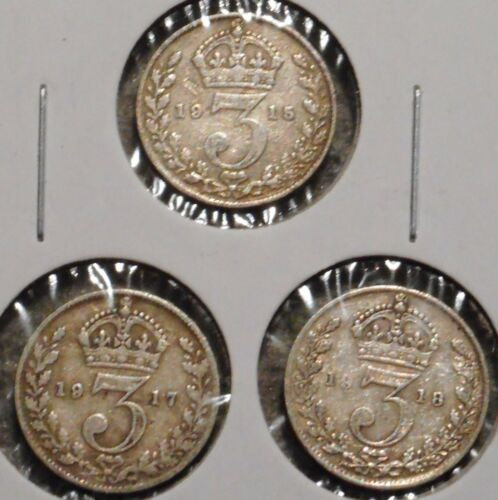 British Silver Threepence - Set of 3 - 1915 / 17 / 18 - $1 Unlimited Ship-07