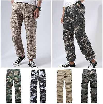 Army Military Pants (Mens Army Military Paratrooper Cargo Pants Outdoor Comfort Camo Fashion Pants)