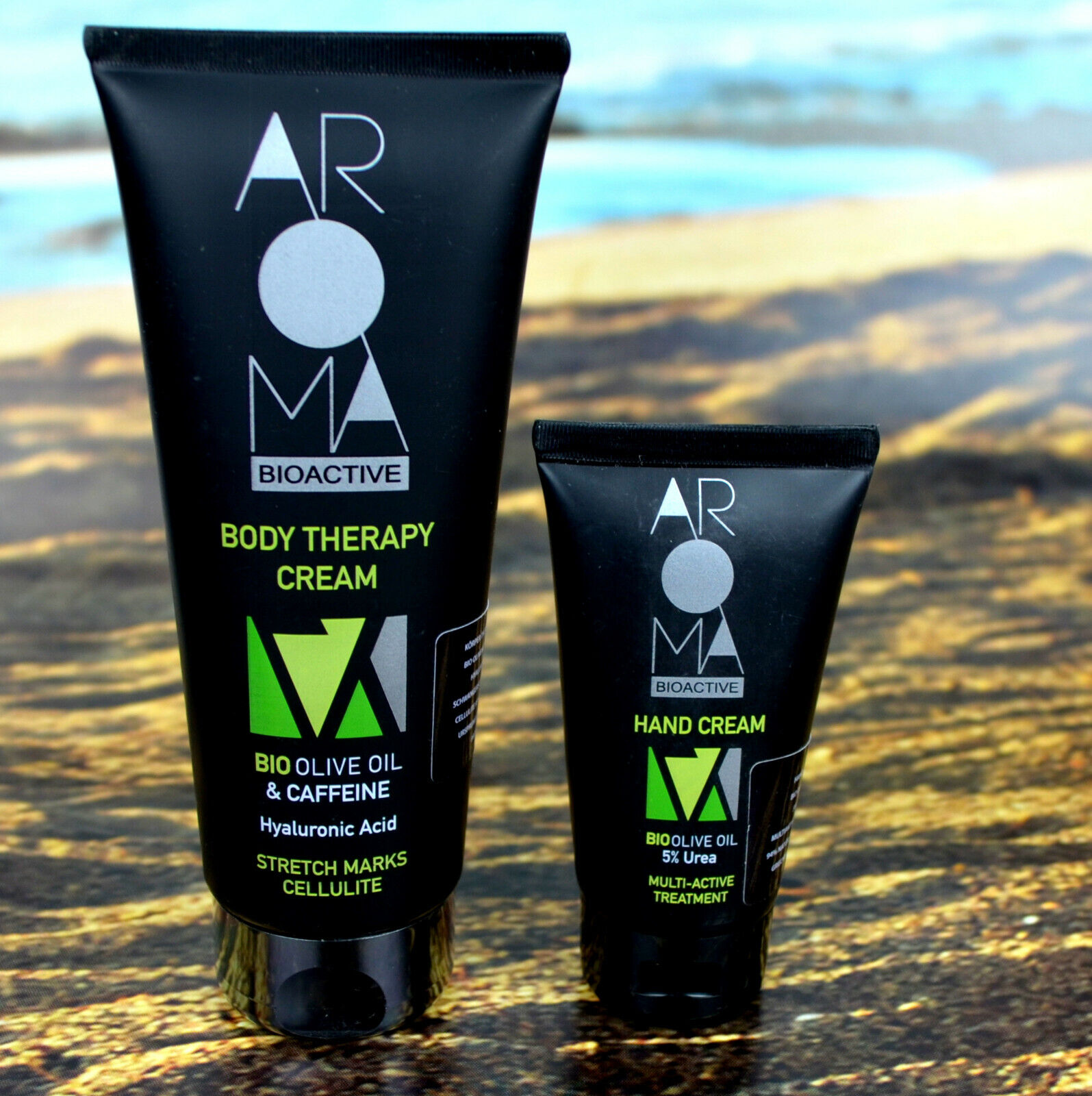 Körper  Creme Bio Oliven Öl & Koffein  Hand Creme 5% Urea  AROMA Bioaktive Oikos