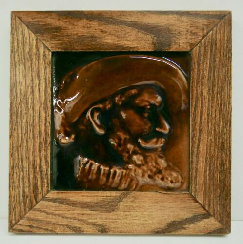 Framed American Encaustic Antique Tile Victorian Man
