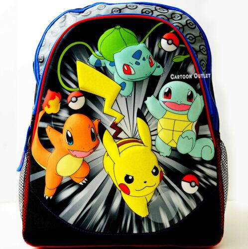 "Pokemon Large 16"" Backpack School Travel Pikachu Book Bag Charmander Squirtle"