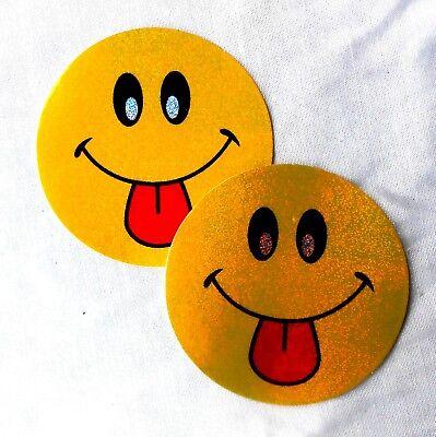 2 x AUFKLEBER Sticker Smiley gelb frech streckt Zunge raus :-P glitzert, 5,8 cm (Smiley Zunge Raus)