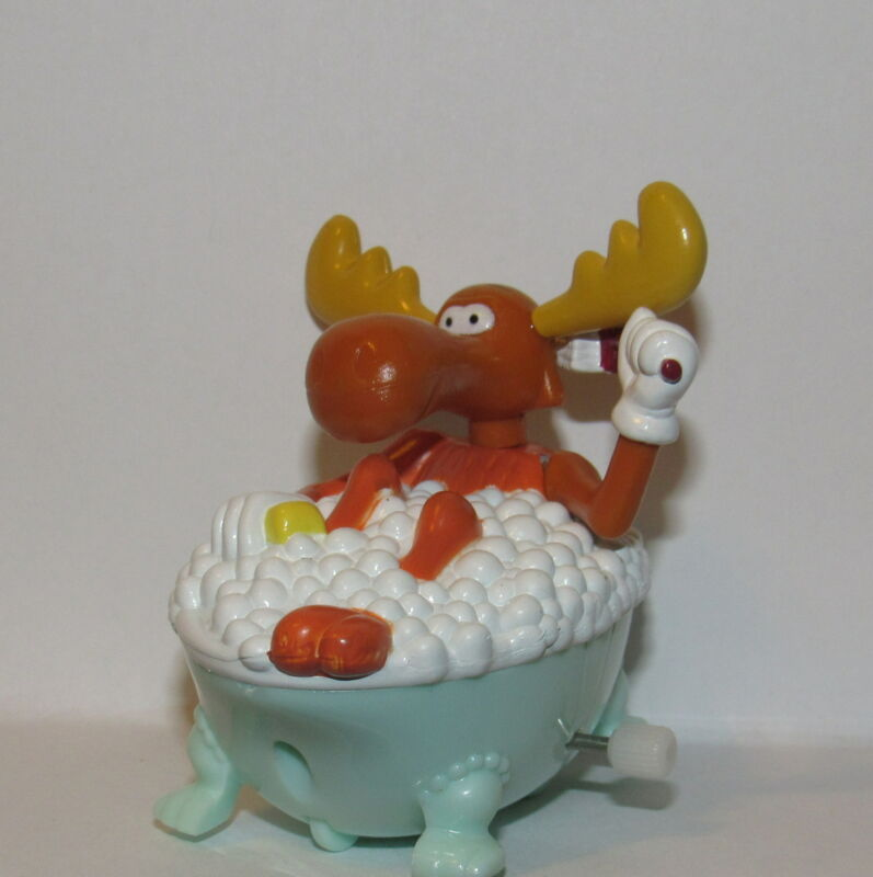 Rocky and Bullwinkle and Friends Bullwinkle in A Bathtub White Knob Roller