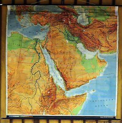 Middle East Wall Map (rollable map vintage school wall chart poster print Middle East countries)
