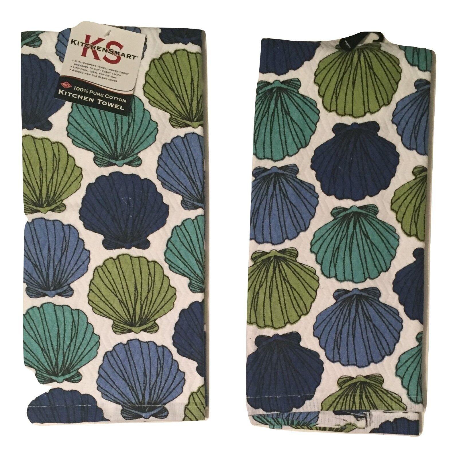 Ritz Seashells Set of 2 Kitchen Towels Blue Green