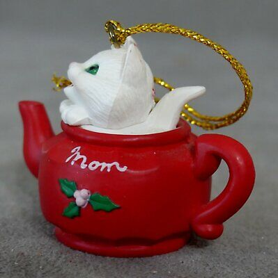 """Christmas Ornament Animal CAT Plastic FEATHER TREE in TEAPOT """" MOM """" USA SELLER"""