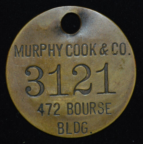 Tool Check ID Number Tag Murphy Cook & Co Stevedores Shipping Phila PA