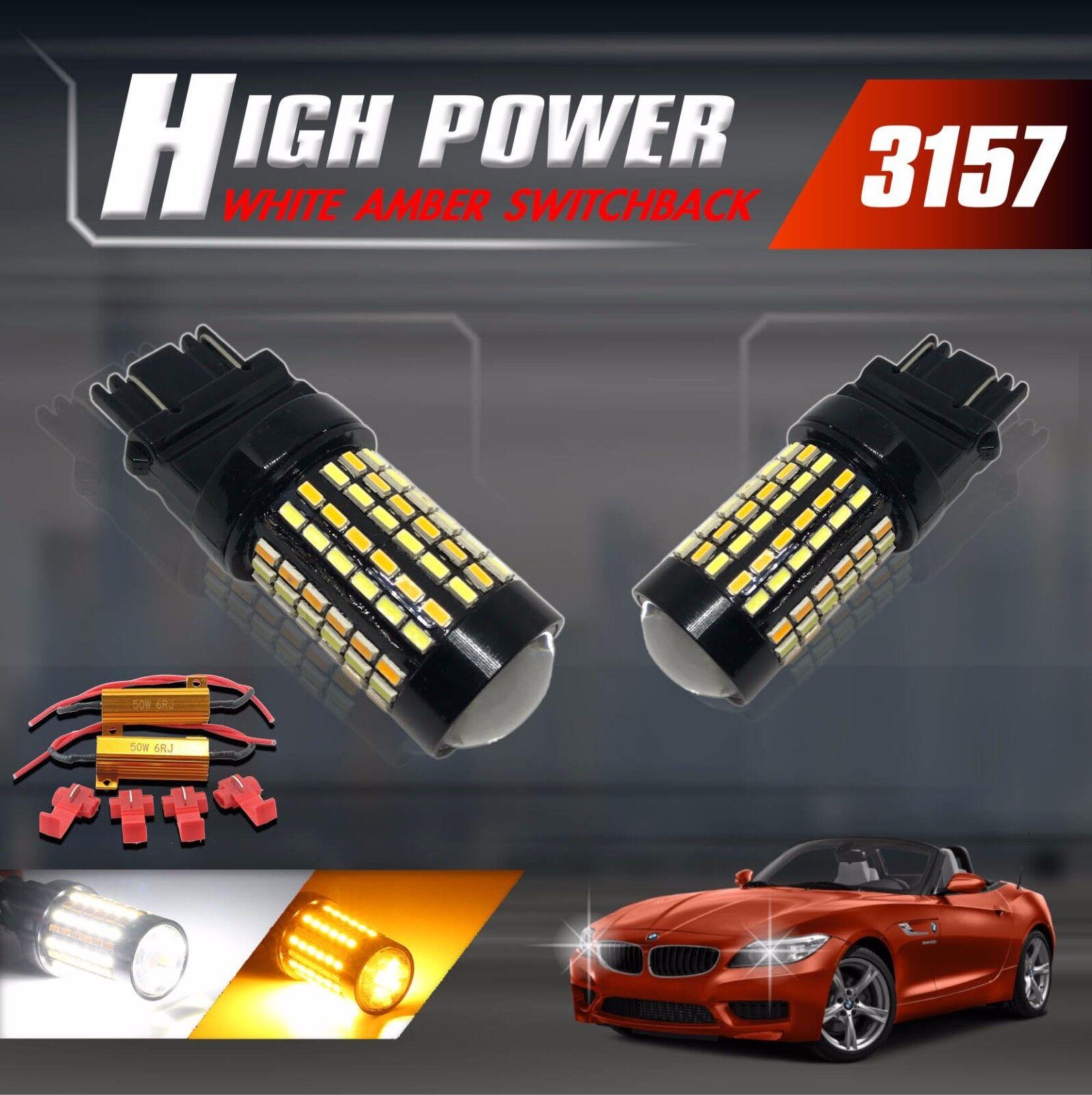 3157 Type-2 Switchback White//Amber 20-LEDs Turn Signal Parking Bulbs Resistors