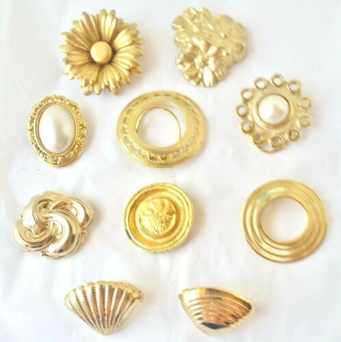 Vintage Lot of 10 Scarf Clips- Gold Tone**