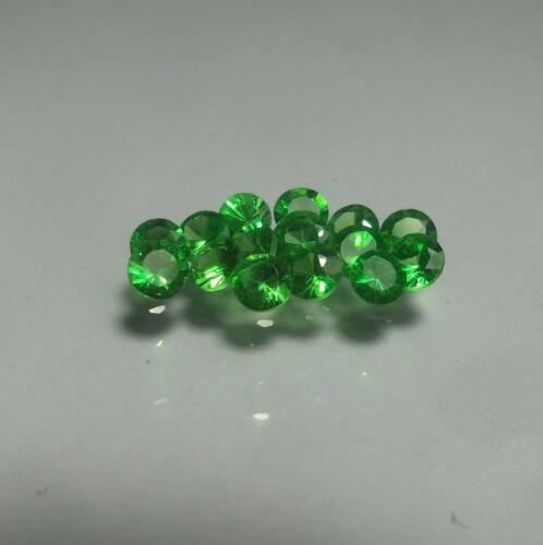 2.5 MM Diamond Cut Round Natural Emerald Green Tsavorite Garnet 15 Piece Lot