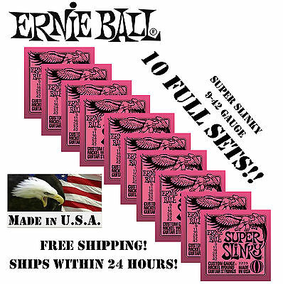 *10 PACK ERNIE BALL SUPER SLINKY 9-42 ELECTRIC GUITAR STRINGS 2223 (10 SETS)*