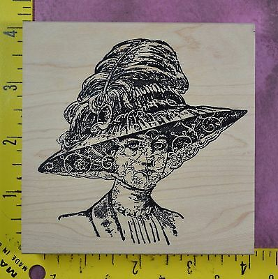 VICTORIAN WOMAN in VEILED HAT Stampland fancy feather lady's face rubber stamp