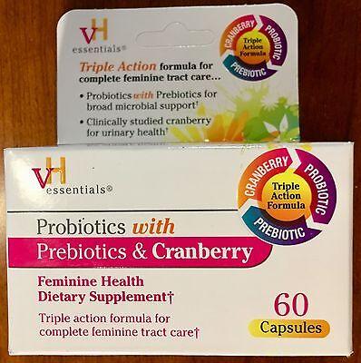 Vh Essentials Probiotics With Prebiotics   Cranberry Feminine Health Supplement