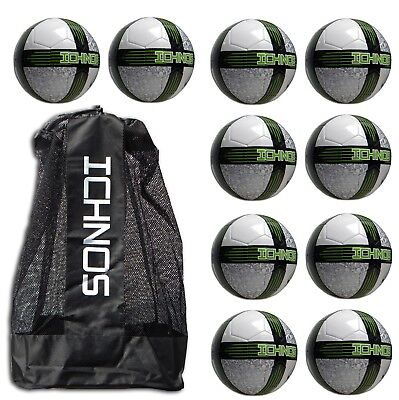 Job lot Bundle 10 Ichnos training footballs ball size 5 with shoulder bag sack