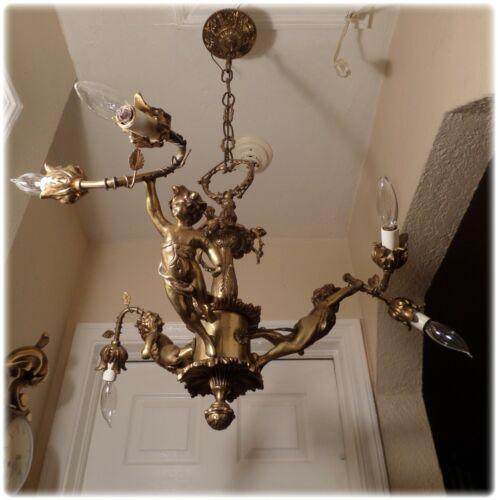 Vintage Solid Bronze 3 Cherub Angel 6 Lights Chandelier