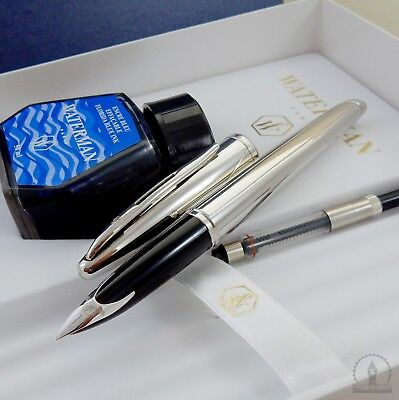 NOS Waterman Carene Silver Meridians Fountain Pen - 18K Broad Nib