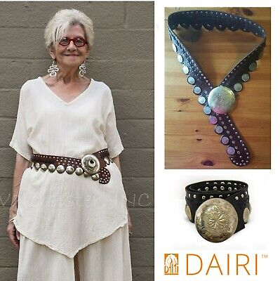 DAIRI Moroccan LEATHER BELT Adjustable Stud COIN CONCHO  6102  BROWN or BLACK Stud Studded Black Belt