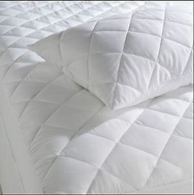 Quilted Mattress Protector ( free fitted sheet) Poly Cotton Fitted Cover Luxury  Cotton Quilted Mattress Protector