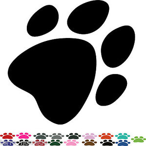 40 PAW PRINT STICKERS Lots of Colours Car Wall Stickers Decals Graphics Cat Dog