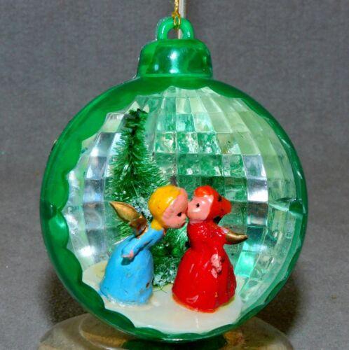 Christmas Ornament SHINY BRITE Plastic DIORAMA Angels Kissing USA SELLER