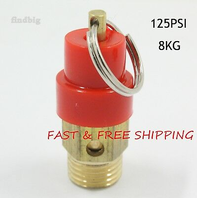 Air Compressor Safety Relief Pressure Valve 14 Npt 125 Psi 8kg Pop Off