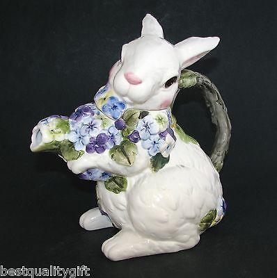 NEW CERAMIC WHITE BUNNY RABBIT+FLOWER,FLORAL COFFEE,TEA POT,TEAPOT-7 CUPS-67009