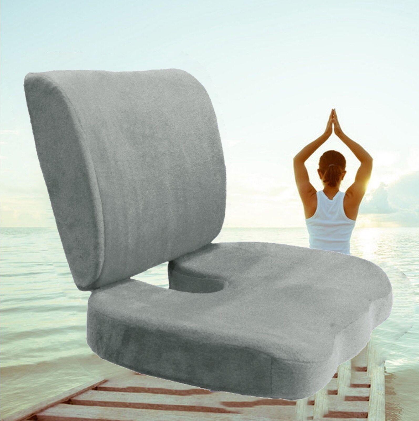 Memory Foam Coccyx Orthopedic Seat Cushion Back Support Lumb