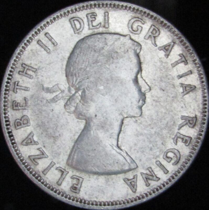 1956 Canada Silver 50 Cents (Fifty, Half) - KM# 53 - JG - VF++