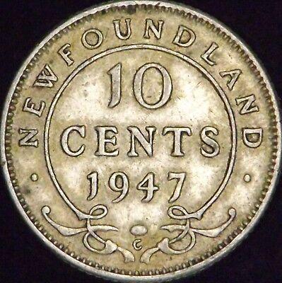 1947-C XF Canada - Newfoundland Silver 10 (Ten) Cents - KM# 20a