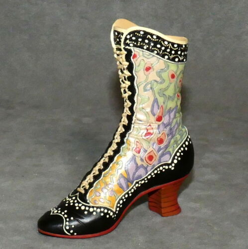 """Miniature Ceramic JUST the RIGHT SHOE Boot DECO BOOT Floral Lace Up 4"""""""