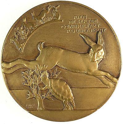 Fontaine Bronze - Fontaine's fables LE LIEVRE ET LA TORTUE Tortoise & Hare  by Vernon bronze 60mm