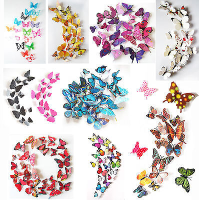 24PCS 3D Butterfly Wall Decals Removable Sticker Kids Art Nursery Decor Magnets (Butterfly Nursery Decor)