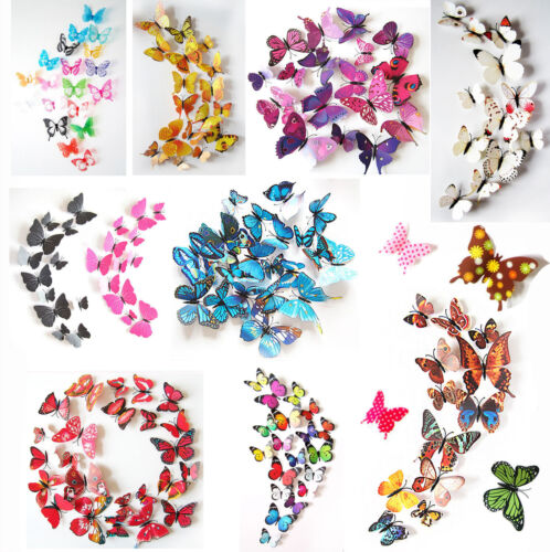 Home Decoration - 24PCS 3D Butterfly Wall Decals Removable Sticker Kids Art Nursery Decor Magnets