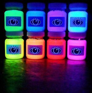 60ml-Ultra-Bright-UV-Paint-8-Vivid-Colours-U-V-Neon-Rave-Art-Glow-U-V-Luminous