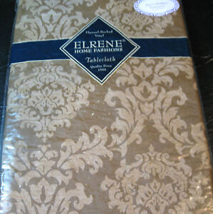 FLANNEL-BACKED VINYL TABLECLOTHS BY ELRENE  ASSORTED SIZES & COLORS - NEW