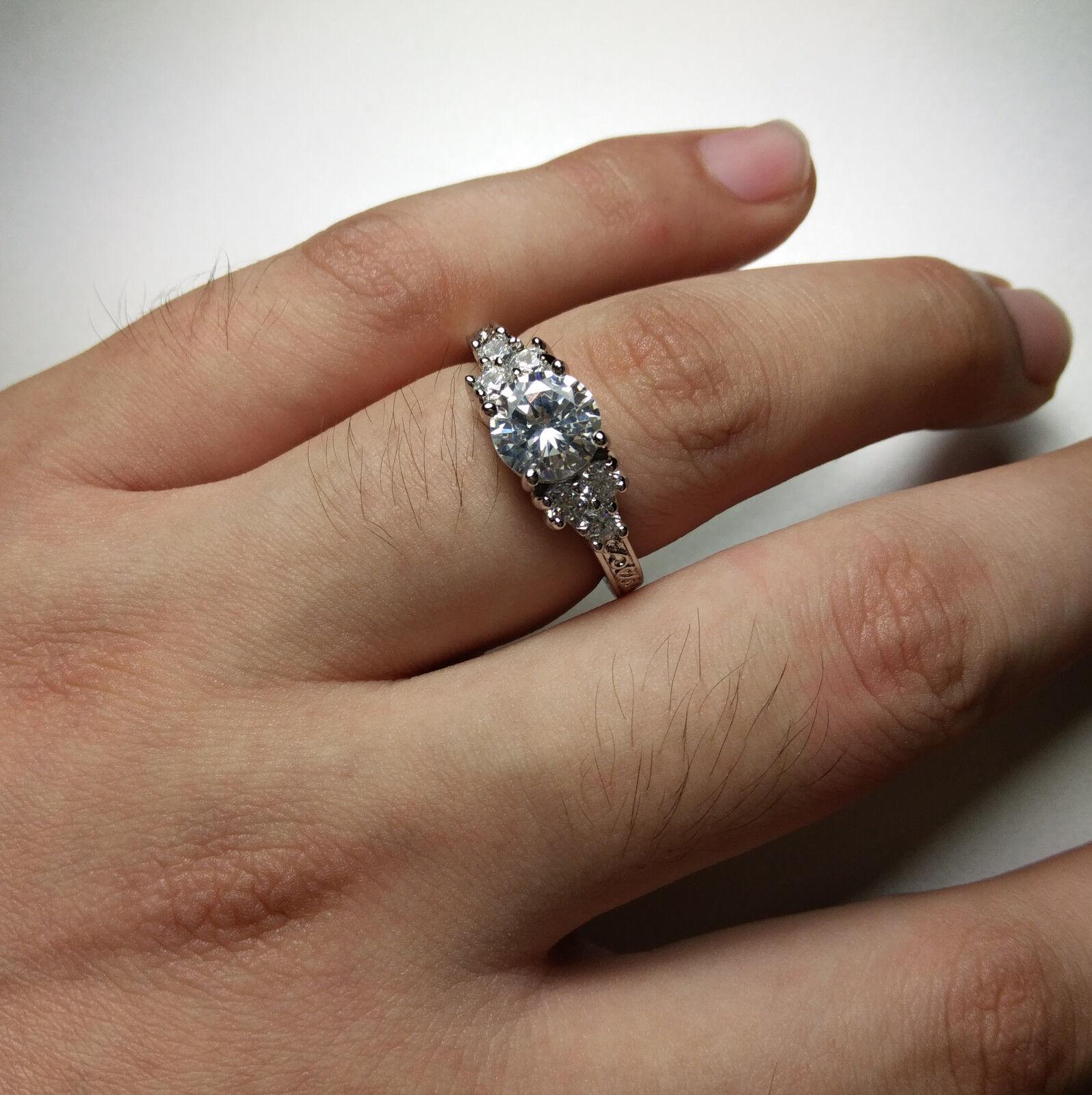5 80 ct Lab diamond White Sapphire Wedding Ring 10KT White Gold
