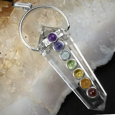 Double Terminated Quartz Crystal 7 Chakra Silver Pendant Point Stone Necklace](Silver Rock)