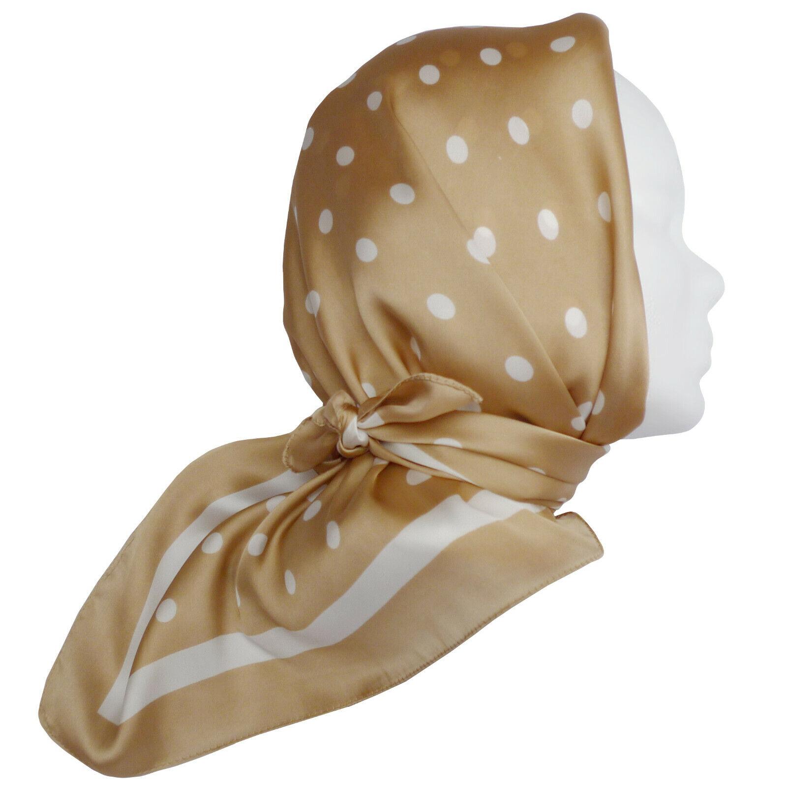 leichtes Cabrio Damen Tuch Punkte gepunktet gold weiß Kopftuch Halstuch 365