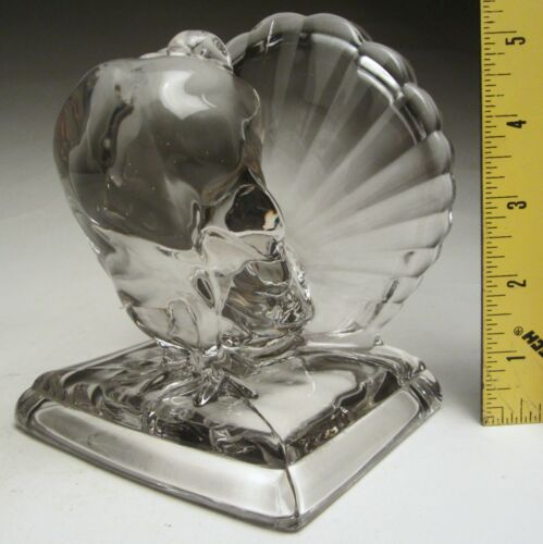 """Vintage Cambridge Glass Clear Pouter Pigeon Bookend 5 ¾"""" tall #122 made 1949-53"""