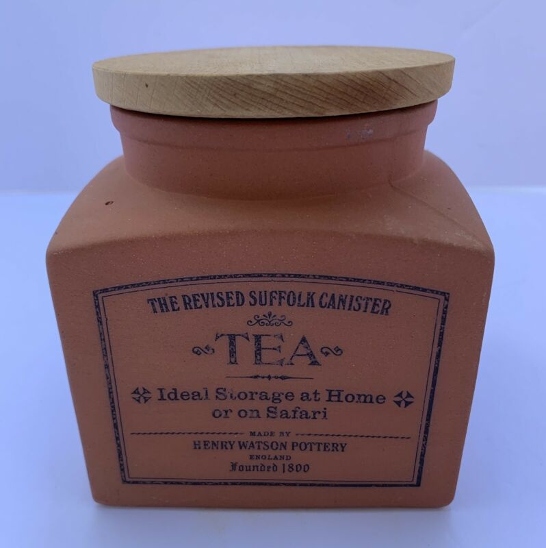 The Revised Suffolk Canister Tea by Henry Watson Pottery Terra-Cotta W/ Wood Lid