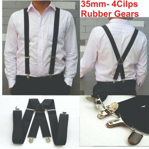 35mm Unisex Mens Men Braces Plain Black Wide & Heavy Duty Suspenders Adjustable