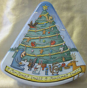 O Christmas Treats -Tree Shaped Musical Tin - Shoebox Greetings Very Cute