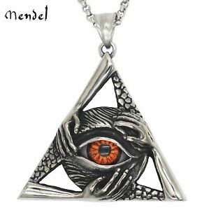 262d366b4e05 MENDEL Mens Illuminati Egyptian All Seeing Eye Necklace Pendant Stainless  Steel