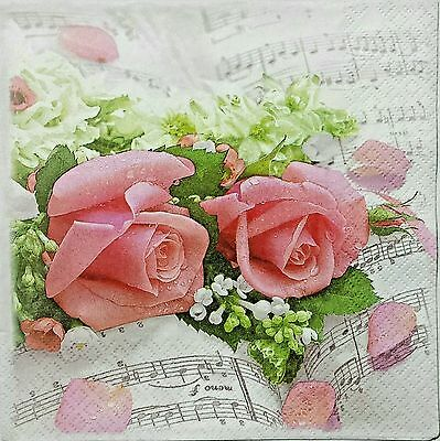 ROSES SYMPHONY 2 individual LUNCH SIZE paper napkins for decoupage 3-ply