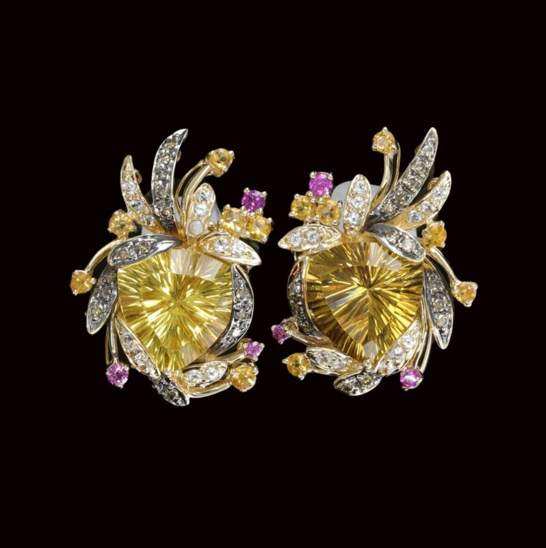 Le Vian 14K Honey Gold 10.76 ct.tw. Diamond and Citrine and Gemstone Earrings