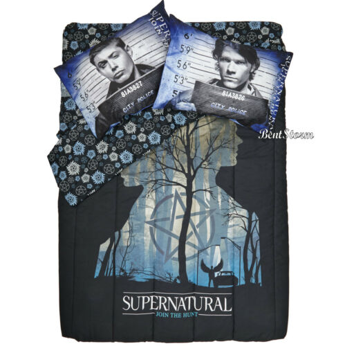 CW SUPERNATURAL Silhouette Symbols REVERSIBLE FULL/QUEEN Comforter + Pillowcases
