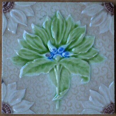 Art Nouveau Vintage Ceramic Tile Rare Reproduction Majolica Alfred Meakin UK