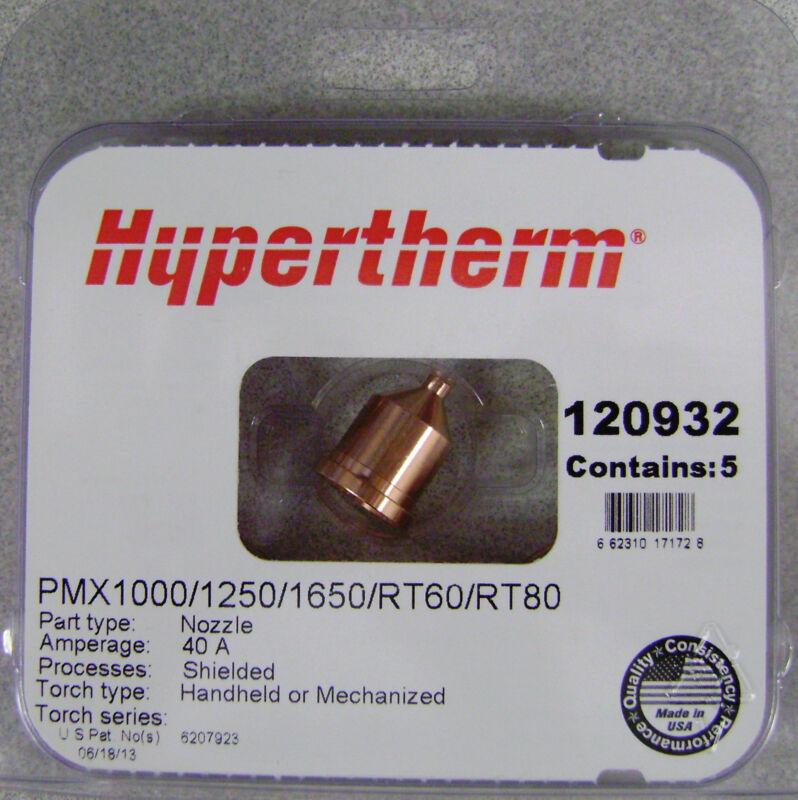Hypertherm Genuine Powermax 1000/1250/1650 40 Amp Nozzles 120932 5pk
