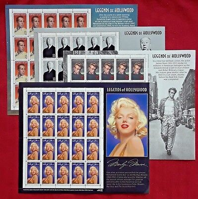 Special: M. MONROE & J. DEAN & A. HITCHCOCK & H. BOGART US PS 32¢ Postage Stamps